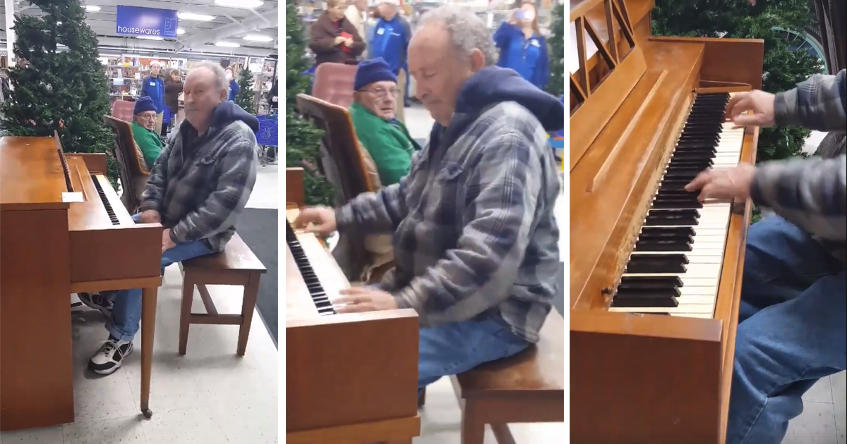 Old man plays a piano at Goodwill store and soon—everyone is